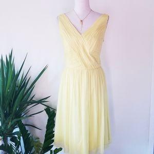 Donna Morgan Yellow 100% Silk Cocktail Dress 12